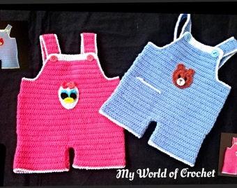 Baby Boy Girl Crochet Dungaree, Overalls, romper, Twins Dungaree, Baby girl Dungaree , Baby boy Blue dungaree INSTANT DOWNLOAD Pattern