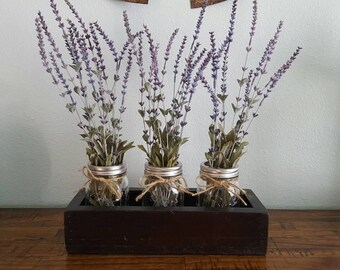 Repurposed Pallet Wood Planter Box With 3 Jars | Rustic Farmhouse | Shabby Chic | Wedding Centerpiece | Multiple Colors Available