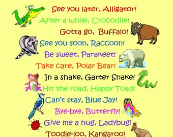 image regarding See You Later Alligator Poem Printable titled Perspective ya later on Etsy