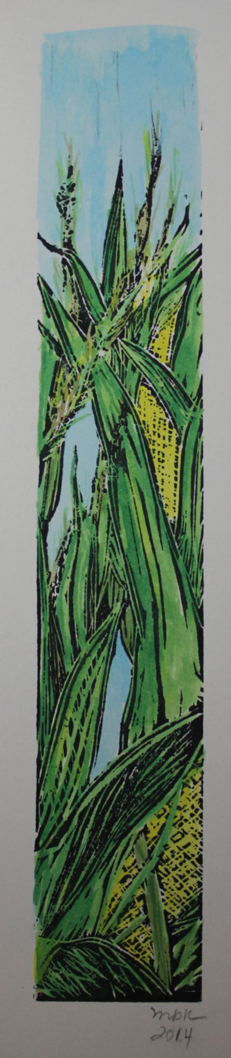 Corn Card / Bookmark Linocut image 1