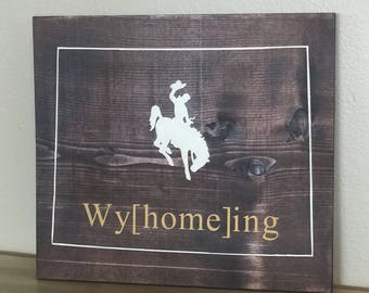 WyHomeing Wyoming outline hand painted wooden sign, Steamboat, Home Decor