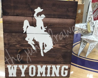 Wyoming Cowboy Wooden Sign - Bucking Horse - Steamboat Sign