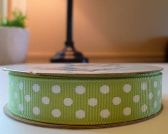 "green polka dot ribbon, 5/8"" green polka dot ribbon, 5/8 inch green grosgrain ribbon,"