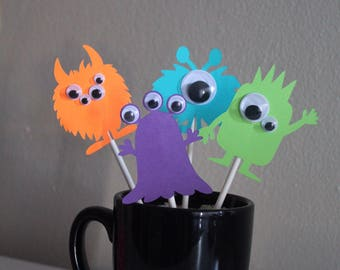 ON SALE - 12 Cute Googly-eyed Monster Cupcake Toppers & 1 Happy Birthday Cake Topper
