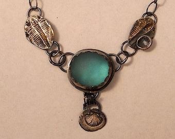 Unique Mermaid Sea Glass Fine and Sterling Silver Necklace.