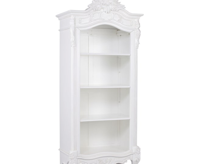 Reproduction French Chateau style Stunning White Painted Mahogany Open Bookcase