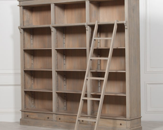 Stunning French Style Cedar wood Bookcase Shelf Unit with Ladder & Drawers
