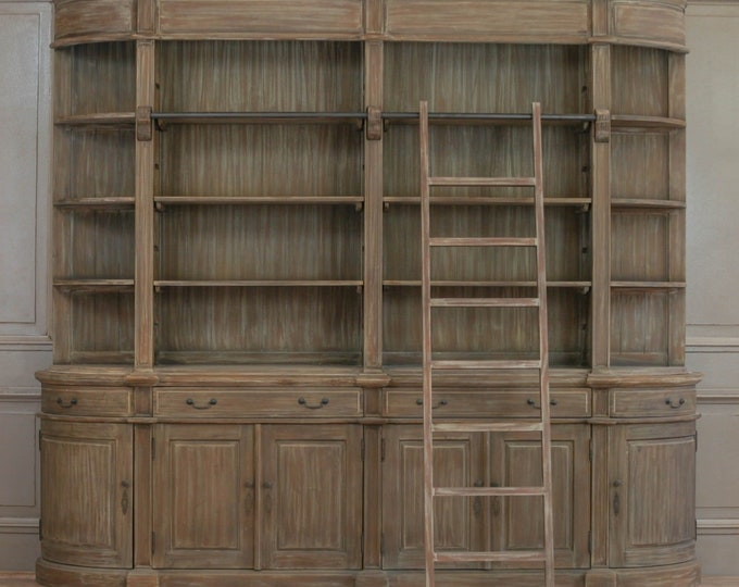 French Chateau Style Extra Large Natural White Cedar Wood Dresser / Bookcase + Ladder