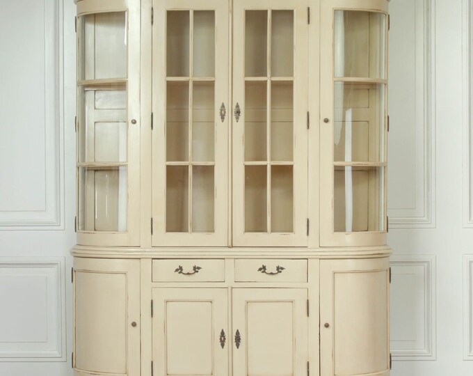 Vintage French Style Large Wood & Glazed Cream Bookcase Display Cabinet