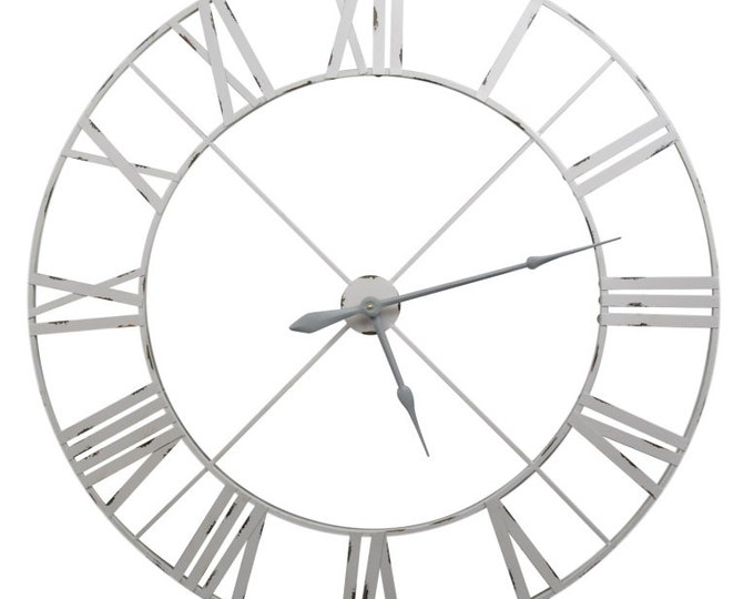 Rustic Extra Large 110 cm Distressed Off White/Pale Grey Metal Wall Clock