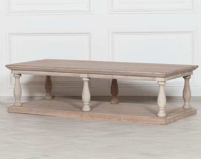 Rustic French Column Style Distressed White Cedar Coffee Table