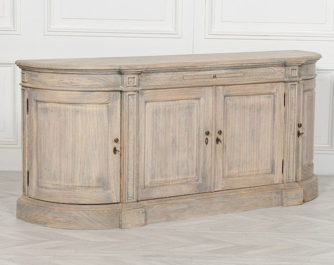 Aged Rustic Farmhouse Style Distressed Cedar Wood Sideboard