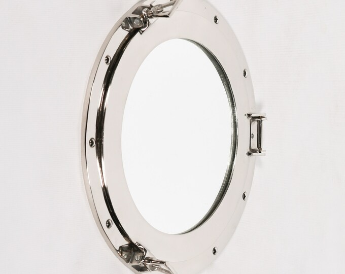 Large Polished Chrome Round Port Hole Style Wall Mirror