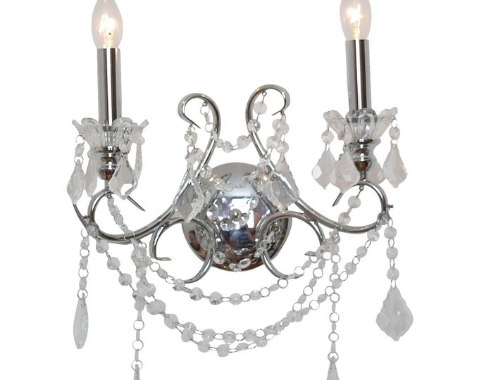 Chrome style 2 Branch Cut Glass Chandelier Wall Light