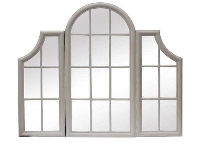 Grey Triple Window Frame Style Wall Mirror