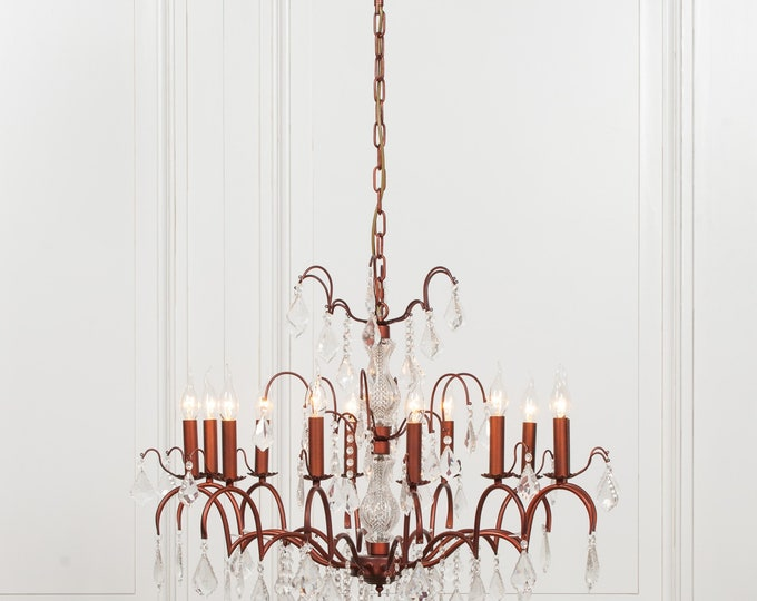 Antique French Style Bronze 12 Branch Chandelier