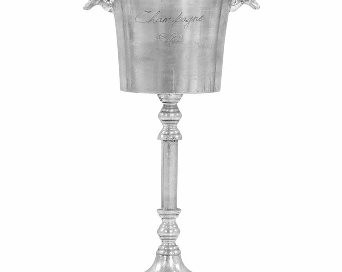 Classic Style Polished Solid Aluminium Champagne Cooler / Ice Bucket.