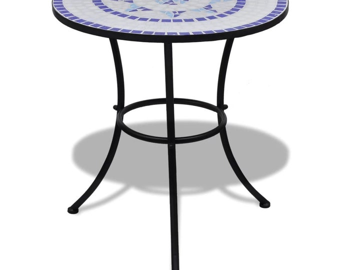 Vintage style Bistro Table Blue and White 60 cm Mosaic
