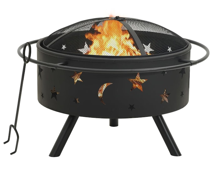 Fire Pit with Poker Moon & Stars Design 76 cm Steel