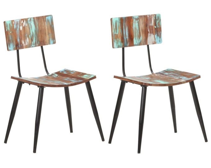 Industrial Retro School Style Dining Chairs in Reclaimed Wood - Multicolour
