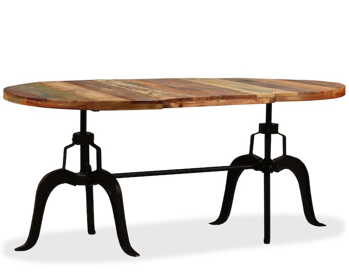 Industrial Style Oval Dining 180 cm Table in Solid Reclaimed Wood - Multicolour