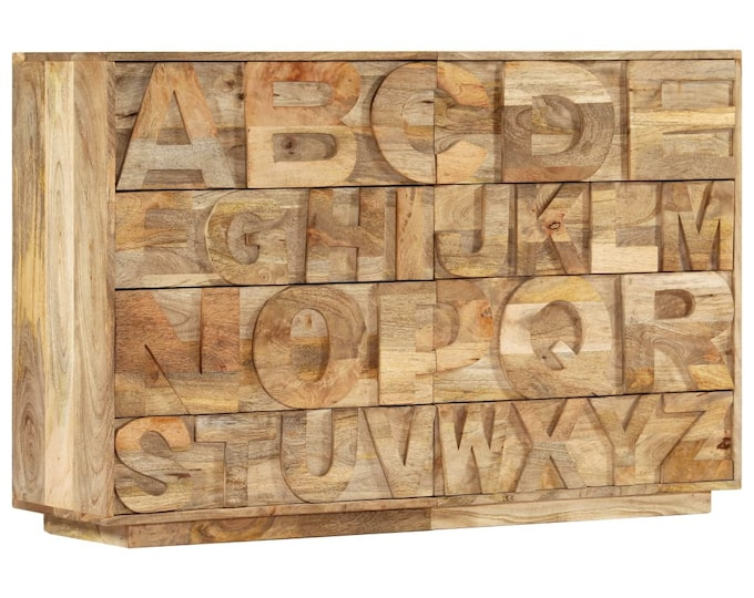 Alphabet 6 Drawer Chest in natural Finish Mango Wood