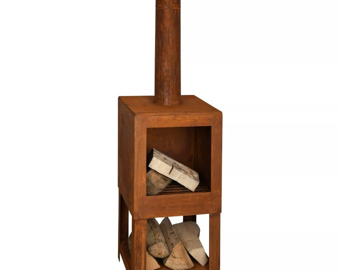 Rust Effect Outdoor Fireplace with Firewood Storage & Chimney