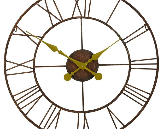 76 cm Rustic Metal Wall Clock with Gold Coloured Hands