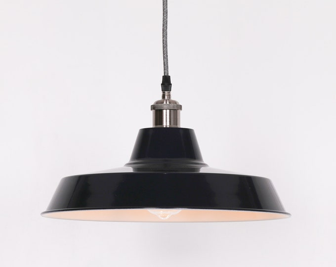 Industrial Style Royal Blue Enamel Painted 36 cm pendant Light with Optional Edison Style Bulb