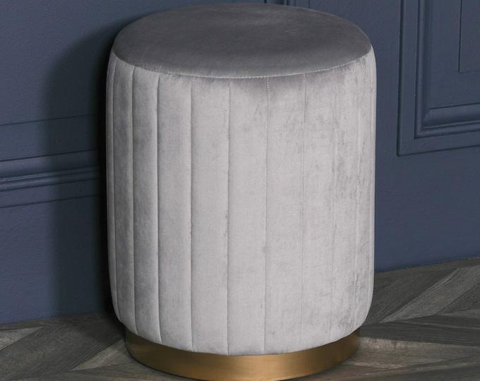 Art Deco Style Grey Velvet Upholstered & Gold look Round Stool Pouffe