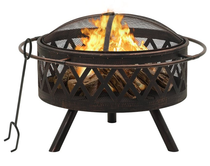 Large Circular Lattice Effect Rustic Fire Pit with Poker 76 cm Steel