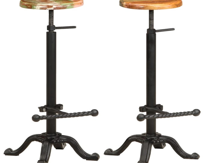 Industrial Style 2 Piece Adjustable Bar Stool Set from Solid Reclaimed Wood