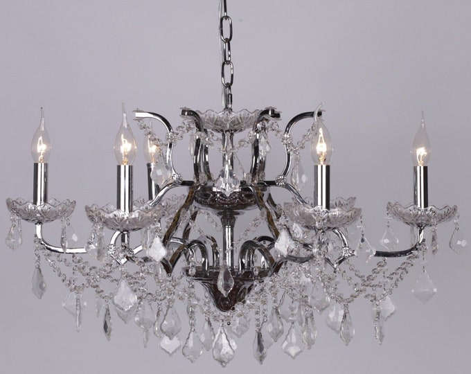 Antique French Style Chrome 6 Branch Chandelier