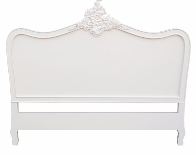 French Ornate Chateau Style Double 4 ft 6  Cream Painted Headboard
