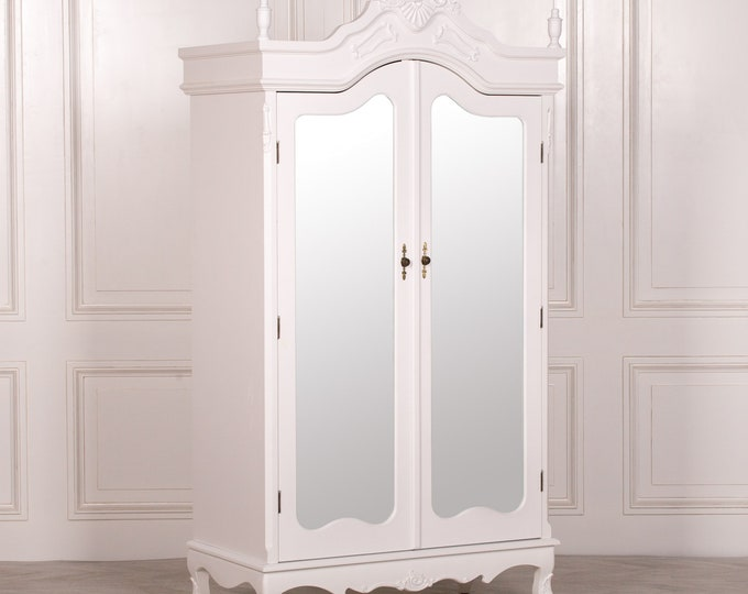 Antique French Style White Full Mirror Door Armoire Wardrobe with Finials & Moldings