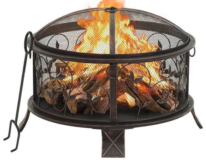Circular Mesh Rustic Fire Pit with Poker 67,5 cm Steel