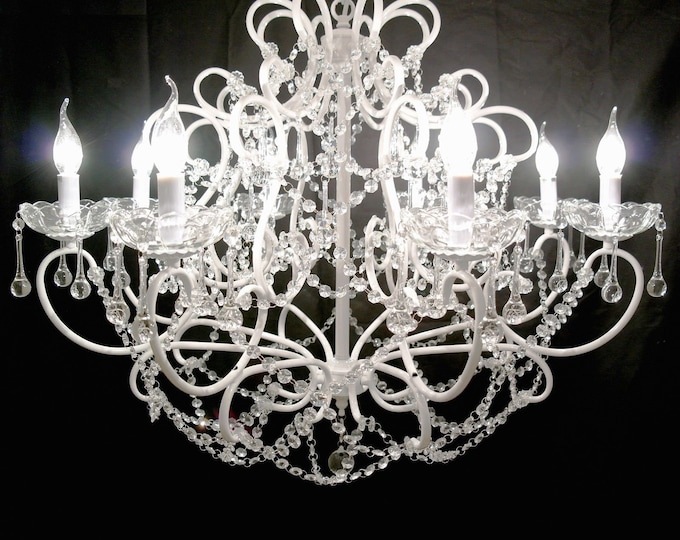 Large Antique French Style White 8 Branch Chandelier