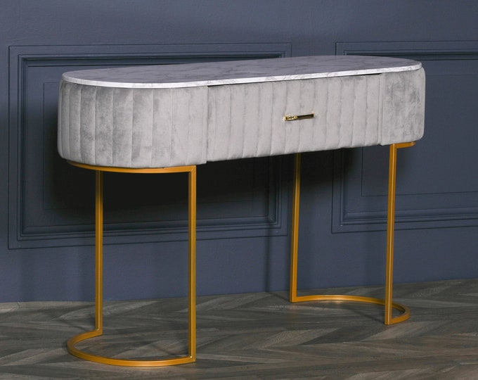 Art Deco Style Grey Upholstered Dressing Table with Marble Effect Top