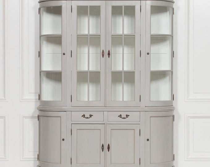 Vintage French Style Large Wood & Glazed Grey Bookcase Display Cabinet