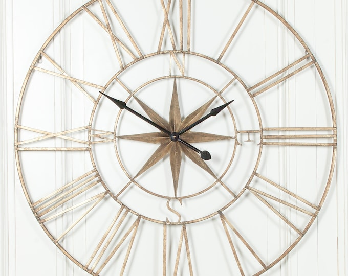 Extra Large 120 cm Rustic Metal Effect Compass Wall Clock