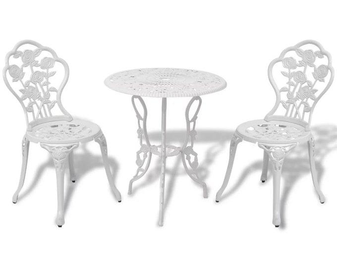 Vintage French style 3 Piece Bistro Set in Cast Aluminium - White