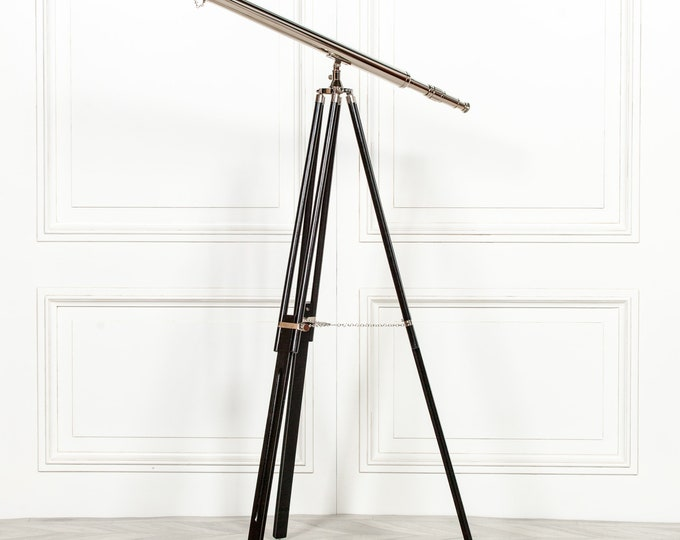 Antique Style Nickel Telescope on Black Wooden Stand