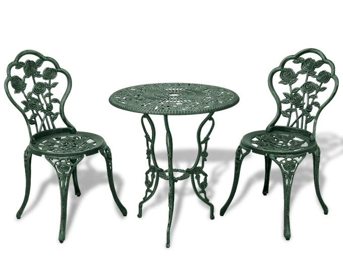Vintage French style 3 Piece Bistro Set in Cast Aluminium - Green