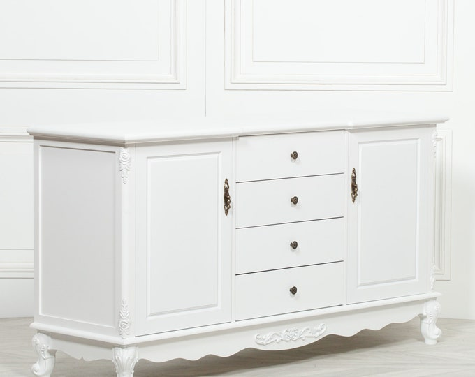 French Antique Style White Painted Sideboard
