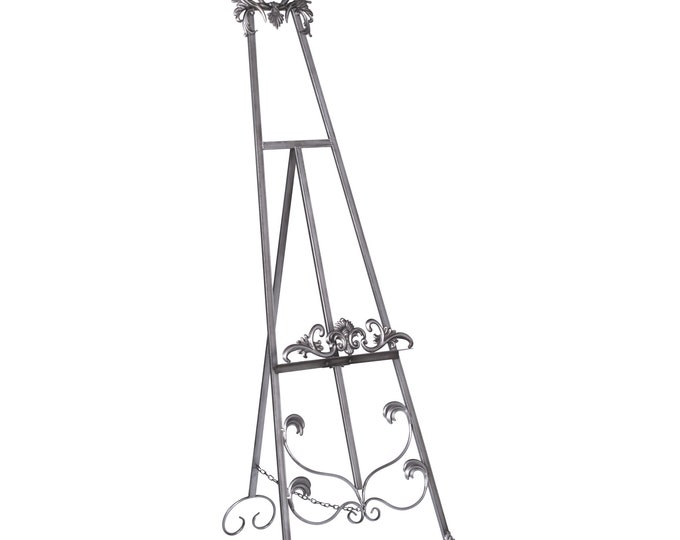 French Shabby Chic Style Antiqued Metal Easel  - Silver