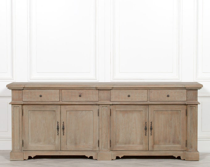 Farmhouse Rustic Classical Style Large 232 cm Distressed Mahogany Sideboard