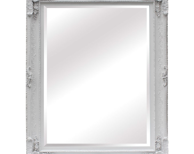 Large ornate White Wall Mirror