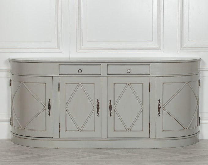 French Style aged Grey Painted 4 Door Mahogany Sideboard