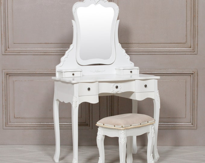 Shabby Chic French Style White Dressing Table with Mirror & Stool