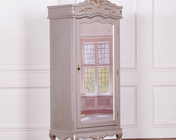 Antique French Style Silver Full Mirror Single Door Armoire Wardrobe with Finials & Moldings